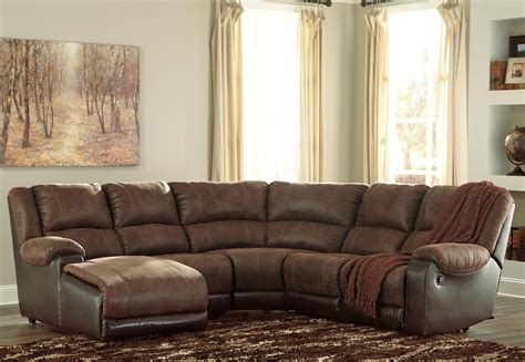 Sectional With Recliners by Signature Design By Nantahala Faux Leather
