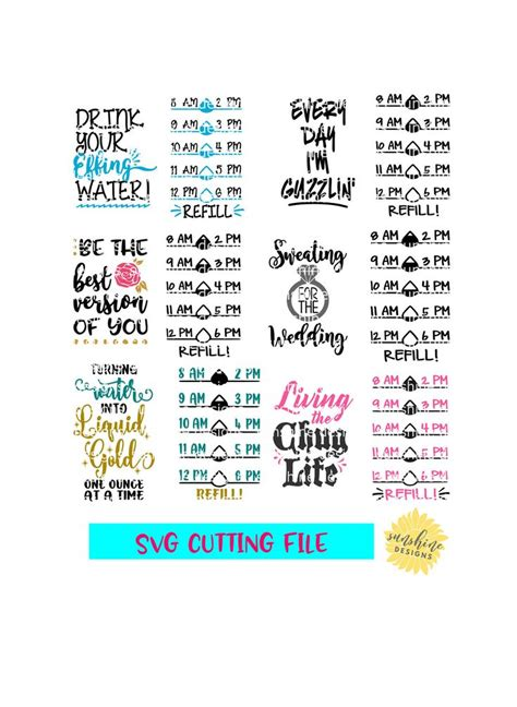 water tracker svg bundle drink  effing water svg water etsy   cricut projects