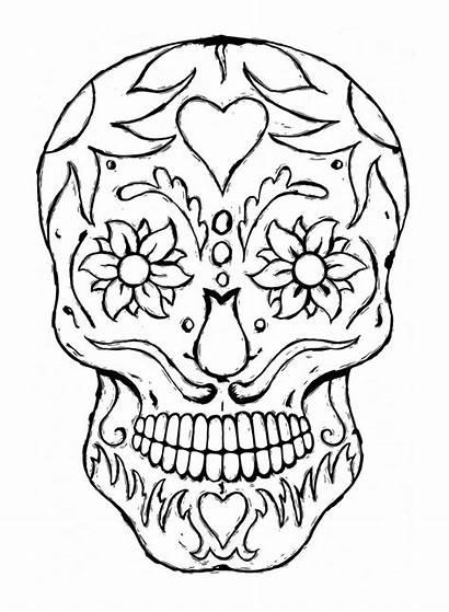 Coloring Skull Pages Sugar Printable Bones