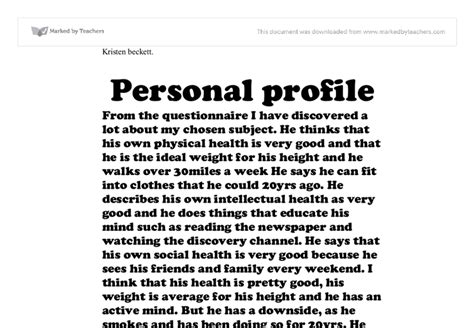 personal profile a level healthcare marked by