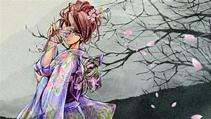 cherry blossoms japanese clothes kimono mizki petals ...