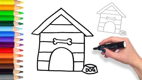 learn   draw dog house teach drawing  kids