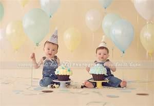 Twin Boys 1st Birthday Smash Cake