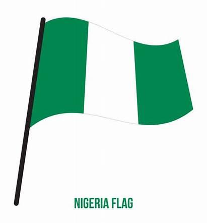 Flag Nigeria National Nigerian Vector Background Waving