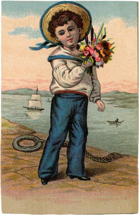 sweet vintage sailor boy picture  graphics fairy