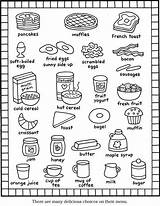 Coloring Breakfast Menu Recipes Printable Sheet English Kitchen Dover Recipe Englisch Kid Groups Rocks Order Colorng Waffles Cat Visit Cut sketch template
