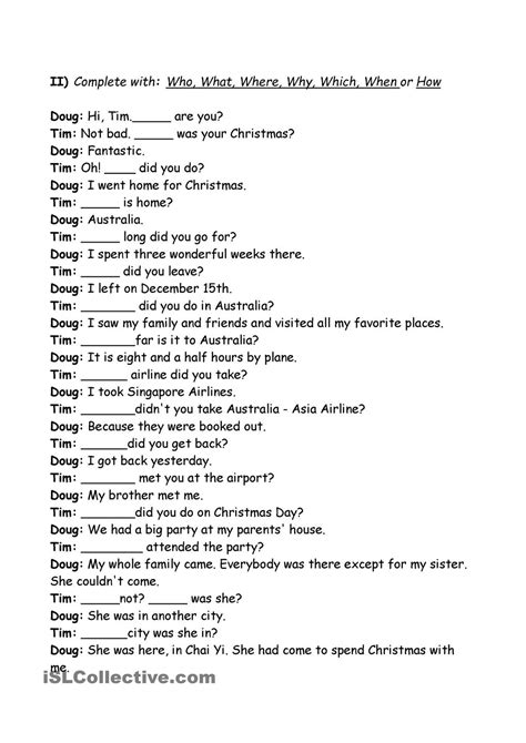 exercises wh question words skole engelsk