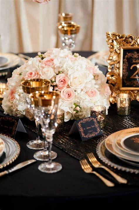 blush ivory black  gold wedding centerpieces unique