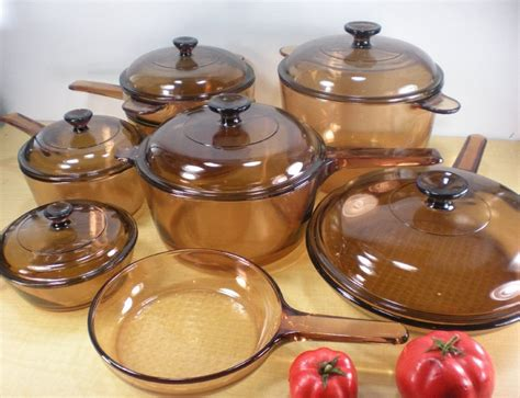 corning vision amber cookware pots pans  pc