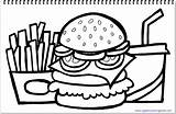 Hamburger Coloring Fries French Drink Drawing Title sketch template