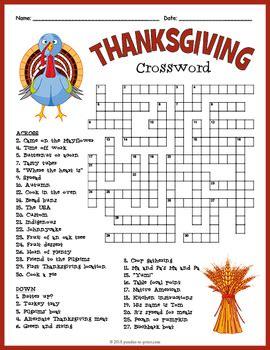 thanksgiving crossword puzzle  puzzles  print tpt