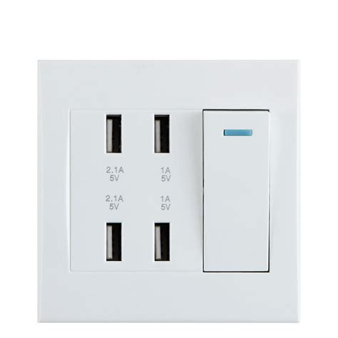 universal 4 ports usb wall socket with power switch led