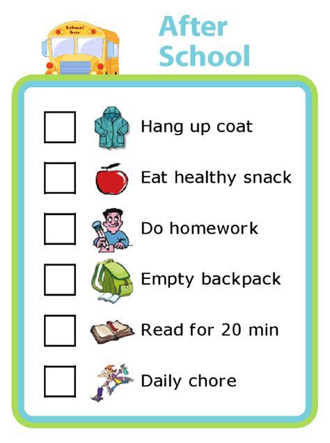 school picture checklist