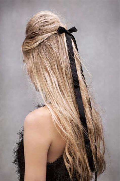 long hair tied   black ribbon simply beautiful
