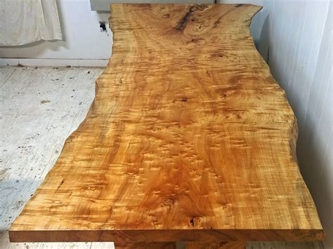 hand crafted silver maple dining table   tree leg