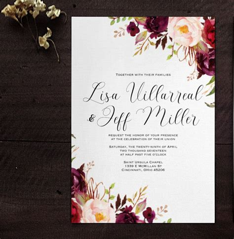 marsala wine floral wedding invitation  pins