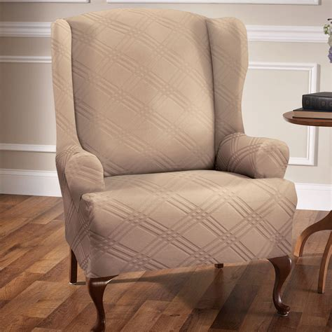 slipcovered wingback chair stretch wing chair slipcovers
