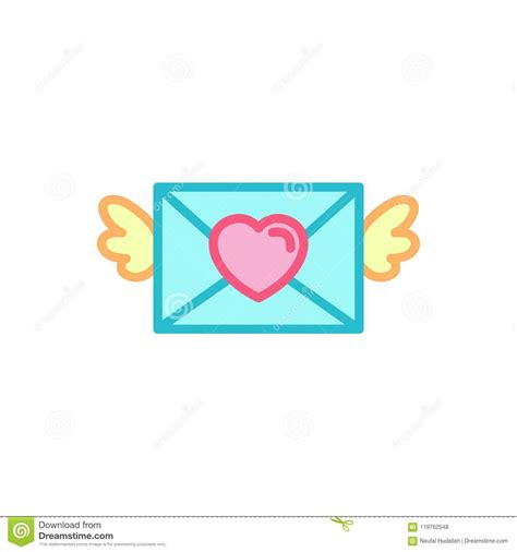love  winged mail love letter icon simple heart