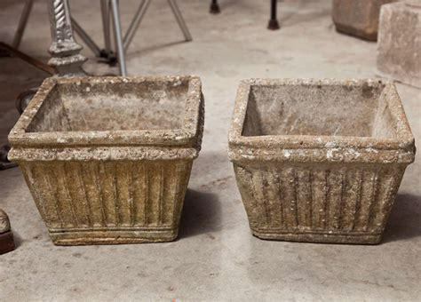 Weathered Cast Planters by Four Weathered Cast Planters At 1stdibs