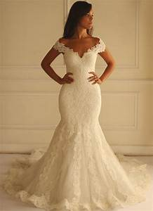 Ivory lace mermaid wedding dresses 2016 off the shoulder for Off the shoulder wedding dresses lace
