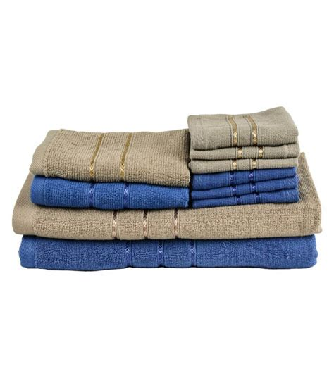 towel town ecospun towels royal blue brown set of 10