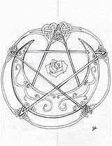 Coloring Pages Tattoo Pentagram Wiccan Pentacle Witch Adult Guy Deviantart Line Sheets Would Adults Rose Diamond Draw Template Sketch Triquetra sketch template