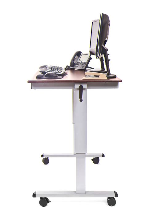 luxor 48 inch crank adjustable stand up desk notsitting com