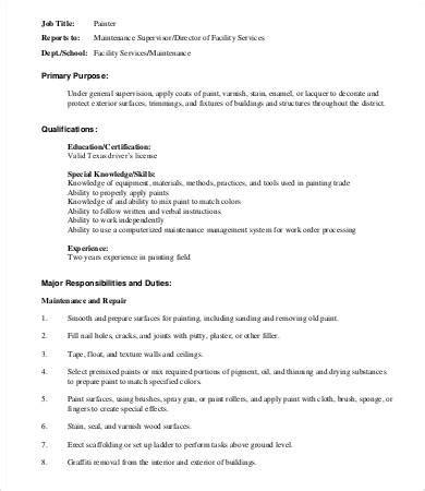 basic description template 8 painter descriptions in pdf free premium templates