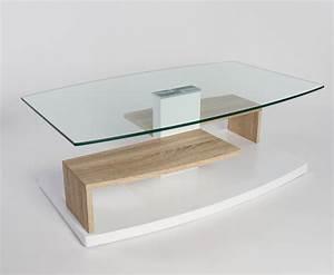 Table Basse Ovale Blanche : table basse design verre et bois design en image ~ Teatrodelosmanantiales.com Idées de Décoration
