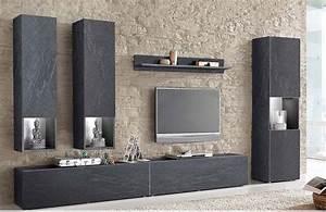 ensemble tv monza meuble tv effet bton cir With meuble effet beton cire