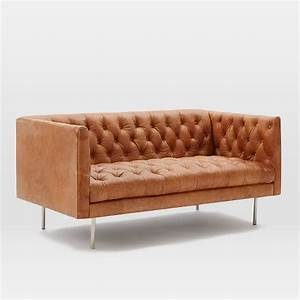 Chesterfield Sofa Modern : modern chesterfield leather loveseat 63 west elm ~ Indierocktalk.com Haus und Dekorationen