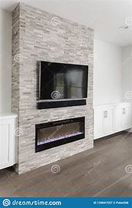 Stone, Fireplace, With, White, Cabinets, Stock, Image