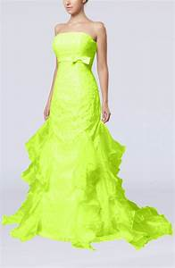 lime green cinderella hall column backless satin court With lime green wedding dress