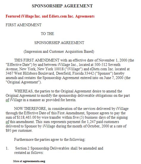 sponsorship agreement template 10 best images of sponsorship agreement template sponsorship agreement form template