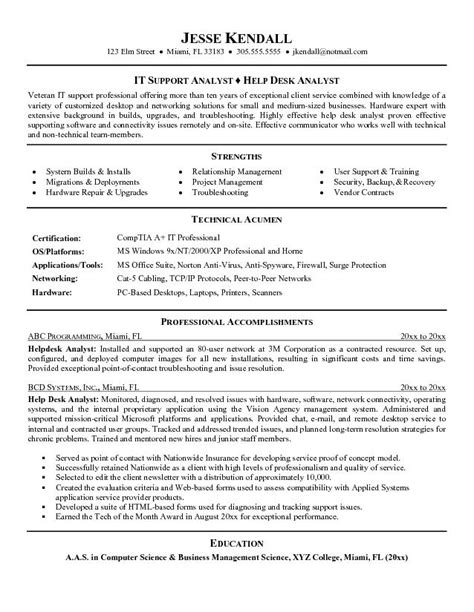 It Help Desk Analyst Resume by Exle Help Desk Analyst Resume Sle