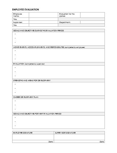 Word Employee Suggestion Form Template by 7 Employee Evaluation Form Templates To Test Your Employees