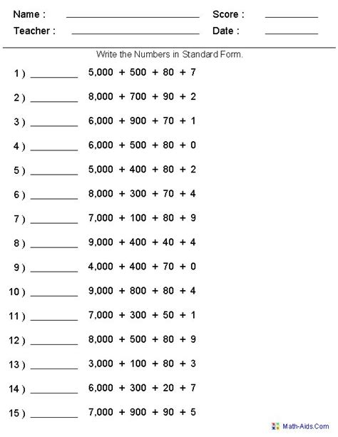 standard form place value worksheets generate as many versions as you want print or save www