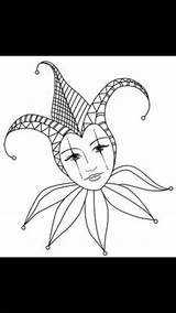 Coloring Drawing Adult Jester Court Tattoo Mask sketch template