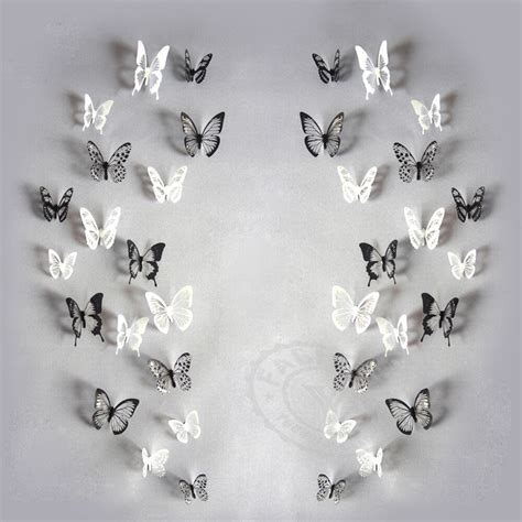 Butterfly 3d Wall Sticker 18pcs pack 3d butterfly adhensive wall stickers decal pvc