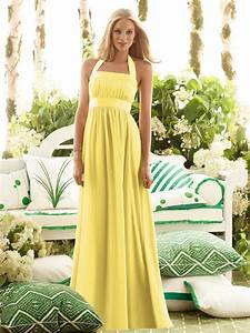 halter a line yellow wedding guest dress with floor With yellow wedding dresses bridesmaids