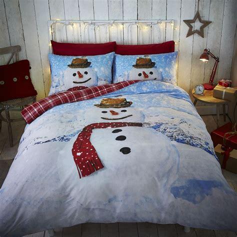 snowman reversible tartan duvet cover set tonys