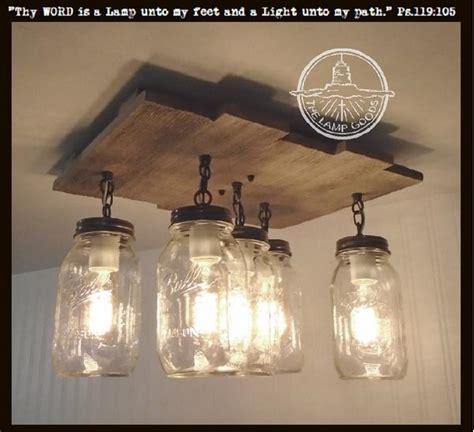 mason jar ceiling light  reclaimed wood  lamp goods