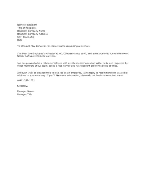 recommendation letter format resume templates builder