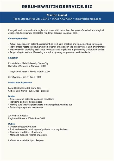 Registered Duties Resume by Critical Care Resume Sle Student Career