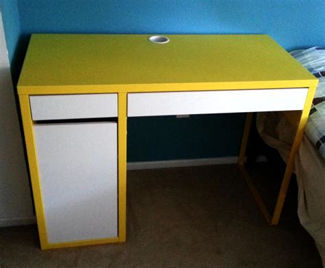 yellow white ikea micke desk swivel chair included
