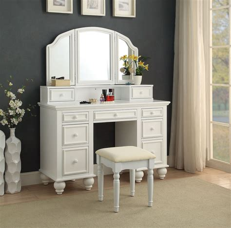 furniture vanity athy white vanity w stool w 3 sided mirror