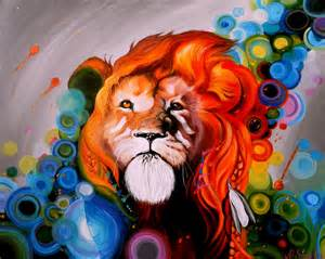 Colorful Lion Painting
