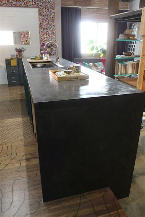 black concrete countertops how to make a waterfall concrete counter top with plywood 1674