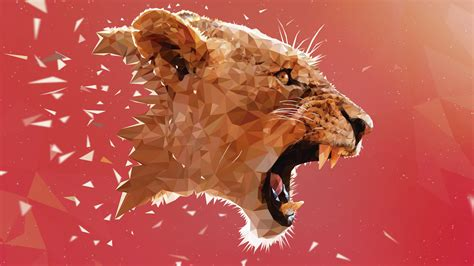 lion adobe illustrator animals  poly digital art