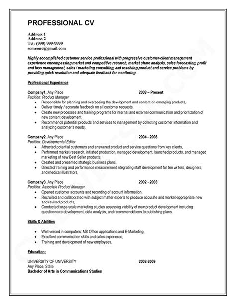 How To Write A Professional Cv Template by Best Photos Of Professional Cv Template Professional Cv